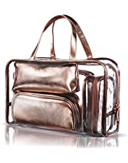 e696875aa093 NiceEbag 5 in 1 Cosmetic Bag   Case Portable Carry on Travel Toiletry Bag  Clear PVC