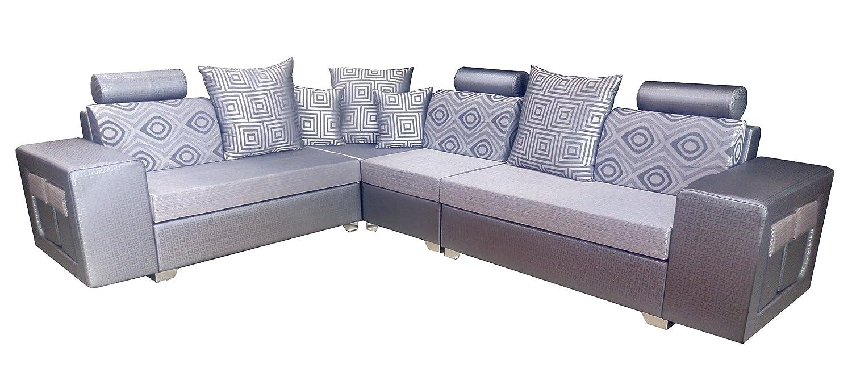 Amey Wood 2-2-1 Rectangular Corner Sofa Set (Silver): Amazon.in ...