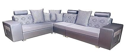 Amey Wood 2-2-1 Rectangular Corner Sofa Set (Silver): Amazon ...