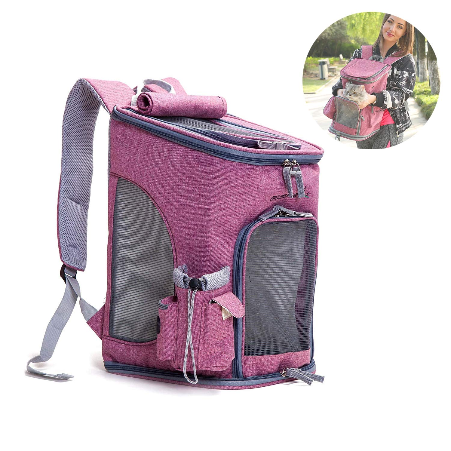 b2416ebb95 Amazon.com: Pet Carrier Backpack Dog Travel Bag,Top Opening Mesh Soft-sided Strap  Dogs Cats Carrier Foldable Outdoor Travel Double Shoulder Bags,Gray, ...