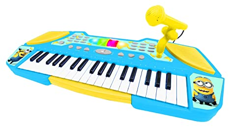 Despicable Me Me Me- Minions, GRU-Teclado con Micrófono, Instrumento Piano Infantil