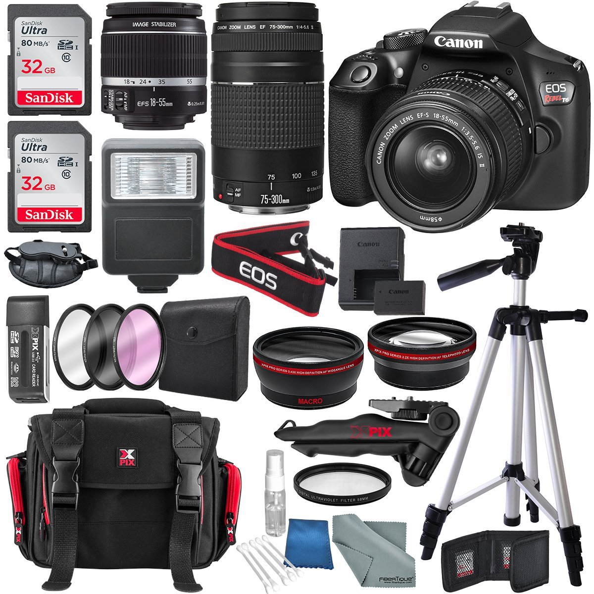 Canon EOS Rebel T6 DSLR Camera with 18-55mm, EF 75-300mm Lens, and Deluxe Bundle 1159C008