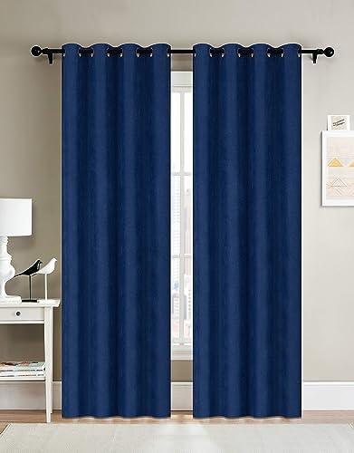 Curtainsville METERO – Blackout Faux Linen Curtain 2 Panels Room Darkening Window Treatments Draperies Silver Grommet top Livingroom Bedroom Kitchen office 52W84L 7ft L ROYAL BLUE