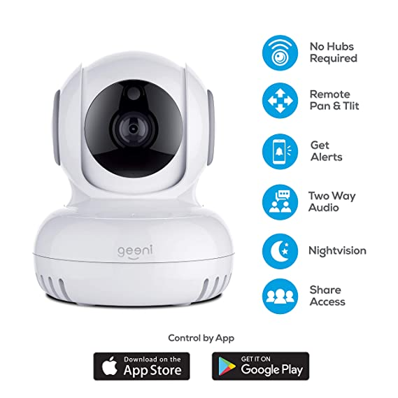 Amazon.com: Geeni Sentinel Wireless Security Camera, WiFi Home Surveillance IP Camera for Baby/Elder/Pet/Nanny Monitor, Pan/Tilt, Two-Way Audio & Night ...