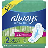 Always Ultra Thin Pads Size 2 Super Long Absorbency Unscented with Wings, 58 Count, Packaging may vary