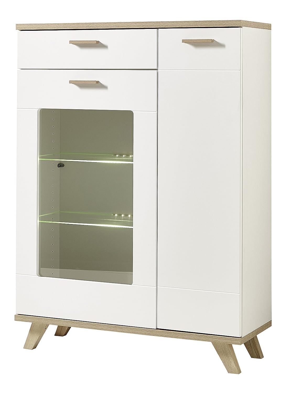 Germania 8694-221 GW-Oslo Wohnzimmer-Set, tiefgezogene MDF, beschichtete Spanplatte, weiß / absetzung: sanremo-eiche-nachbildung, 40 x 305 x 196 cm