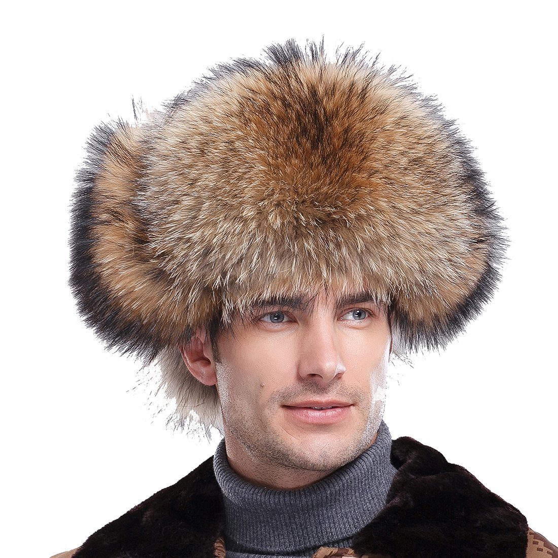 URSFUR Men's Raccoon Fur & Leather Trapper Hats