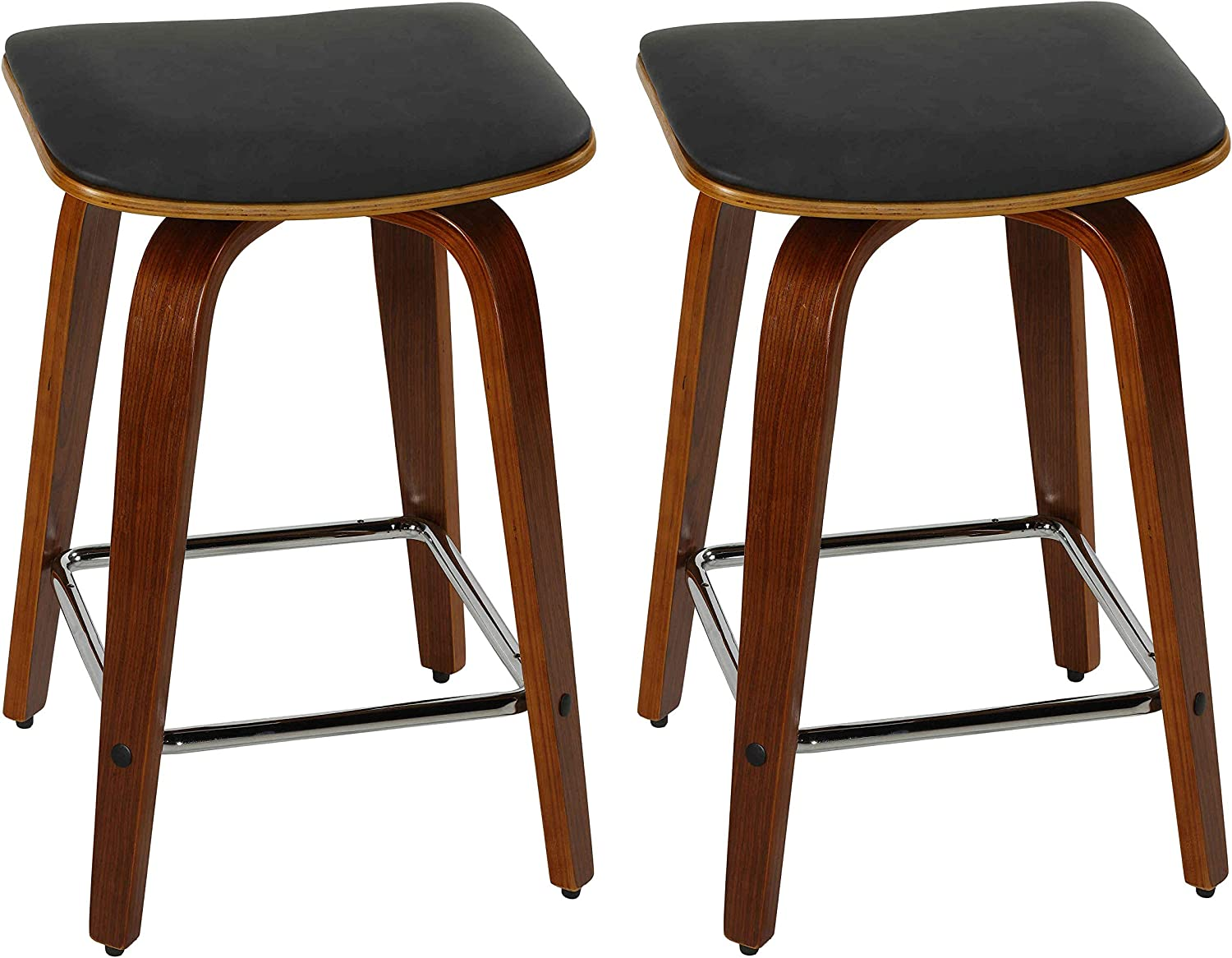 """Cortesi Home Massa Swivel Counterstool in Charcoal Black Faux Leather, 24"""", Set of 2"""