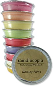 Candlecopia Monkey Farts, Butt Naked, Bite Me, Mango Papaya and More! Strongly Scented Hand Poured Premium Natural Soy Wax Melt Cups, 12.5 Ounces in 10 x 1.25 Ounce Sealed Cups