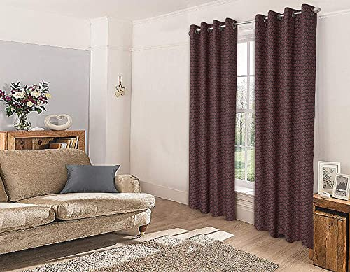 Cotton Passion- Grommet, Printed Curtain for Living Room, Top Eyelet Curtain, Size 50-in W x 84-in L one Panel Pack Peach