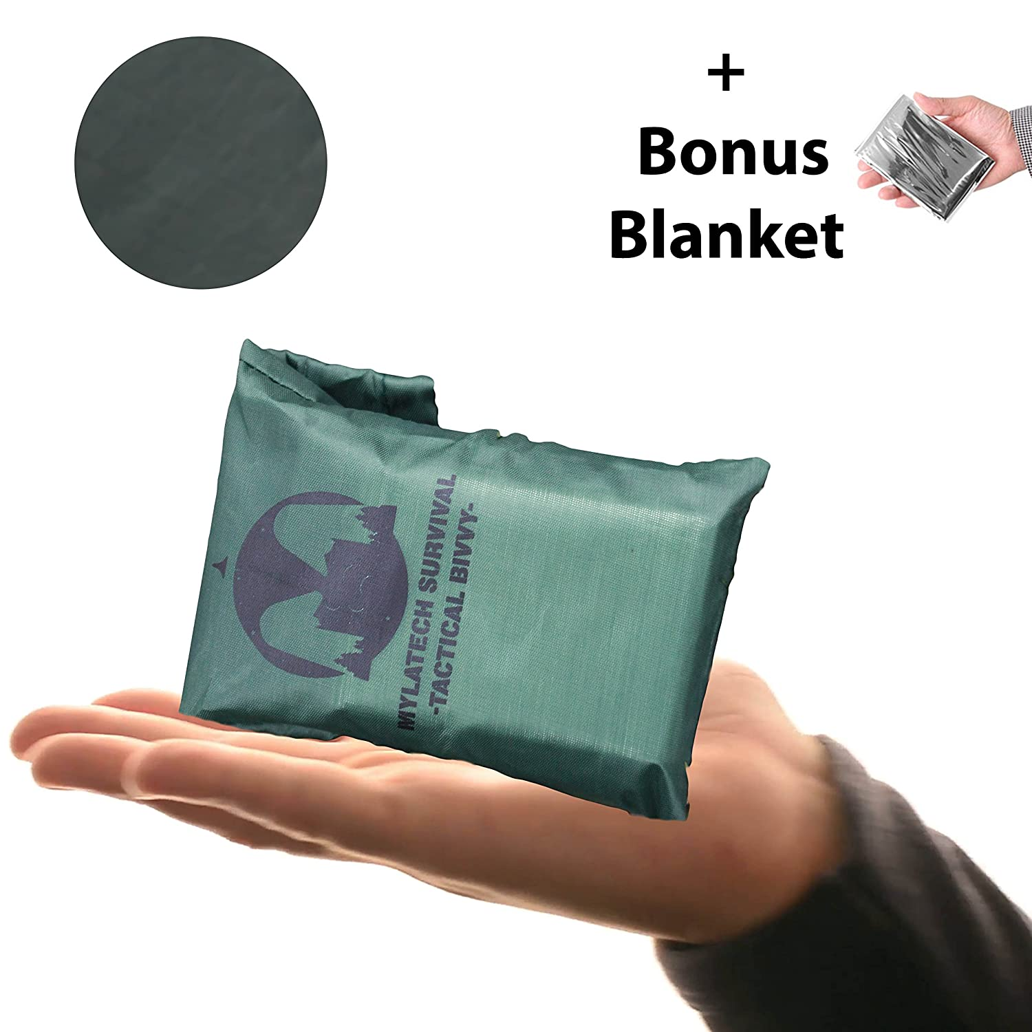 (Army Green) Emergency Sleeping Bag (+ Free Emergency Blanket) - Lightweight, Waterproof Bivy Sack Made with Our Advanced Thermal Material + Nylon Carry Bag, Camping Gear & Bug Out Bags & Kits Mylatech Survival