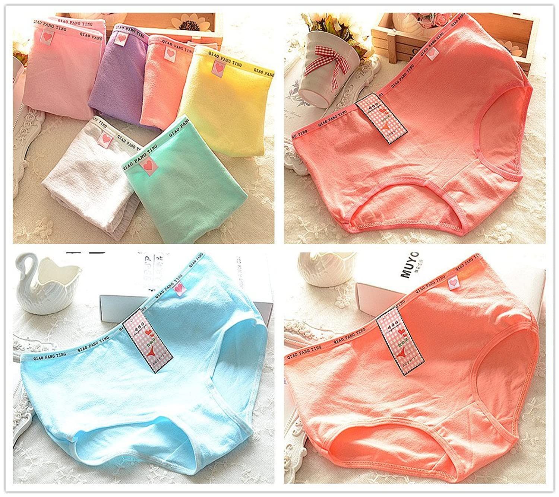 4 Pcs Packed Letter Heart Cotton Girl Women Briefs Panties Underpants Underwear S/M