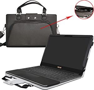 """Asus Q304UA Case,2 in 1 Accurately Designed Protective PU Leather Cover + Portable Carrying Bag for 13.3"""" Asus Q304UA Q304UA-BBI5T10 Q304UA-BHI5T11 Q304UA-BI5T24 Series Laptop,Black"""