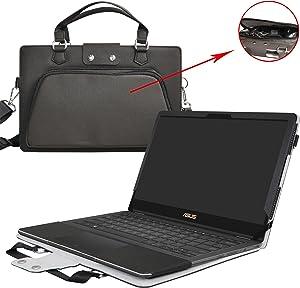 "Asus Q534UX Q504UA Q524UQ Case,2 in 1 Accurately Designed Protective PU Leather Cover + Portable Carrying Bag for 15.6"" Asus Q534UX Q504UA Q524UQ Series Laptop,Black"