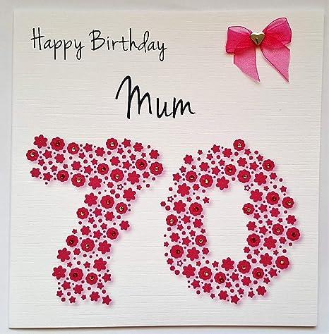 Buon Compleanno Mamma Glitter.Biglietto Di Buon Compleanno Per La Mamma Numero 70 Realizzato