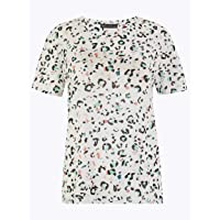 Marks & Spencer Women's Relaxed Fit Animal Print T-Shirt, White Mix