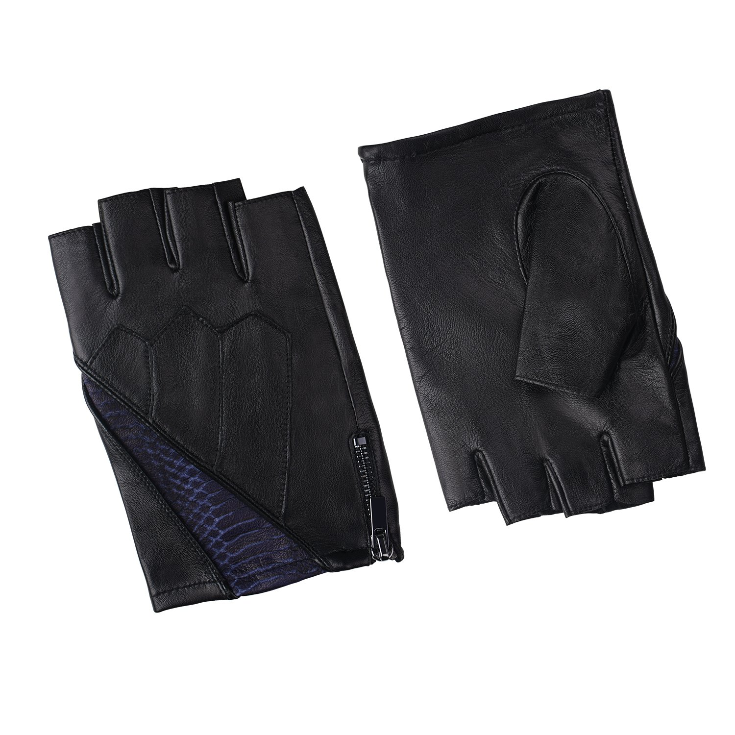Fioretto Cool Gifts Mens Leather Gloves Fingerless Driving Motorcycle Genuine Leather Gloves Sport Half Finger Men's Leather Gloves Unlined Mens gifts Blue S/M