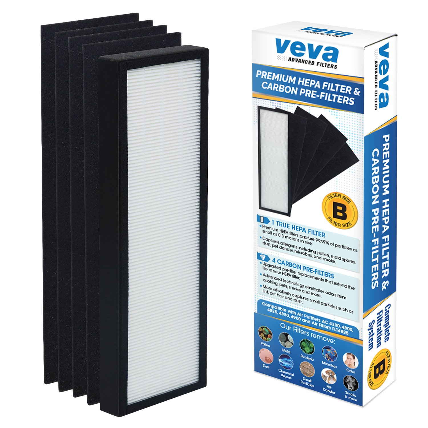 VEVA Premium True HEPA Replacement Filter Including 4 Activated Carbon Pre Filters compatible with Air Purifier AC4300/AC4800/AC4900/AC4825 and FLT4825 Filter B