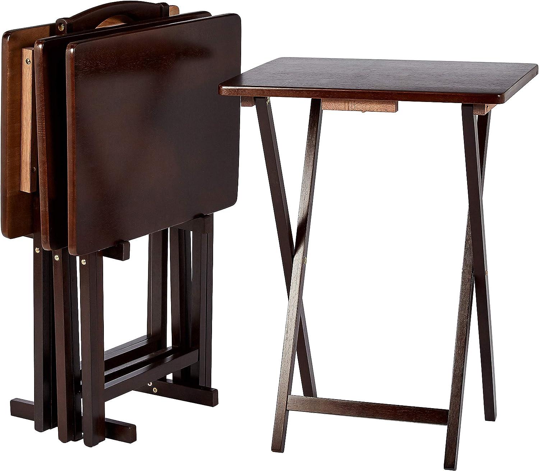 AmazonBasics – Juego de 4 mesas supletorias para comer frente a la televisión de estilo clásico con soporte, marrón Espresso
