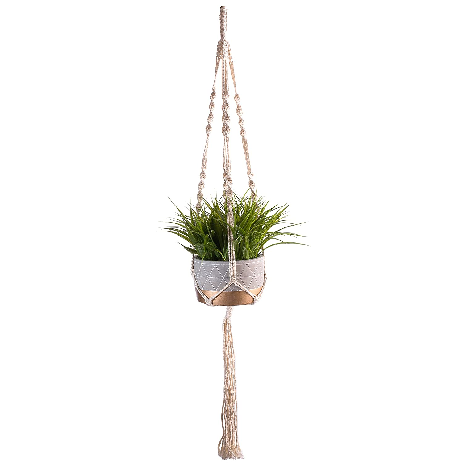 Macrame Plant Hangers Hanging Planters – Handmade 100 Percent Cotton Rope – 40 Inches Long 4 Legs – for Outdoor Indoor – for Pots Up To 10 Inches Diameter – Plant and Pot Not Included
