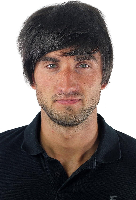 WIG ME UP ® - Peluca masculina, para hombres, bisoñé, cardado, corto, juvenil, moderno, castaño, informal GFW-933-4