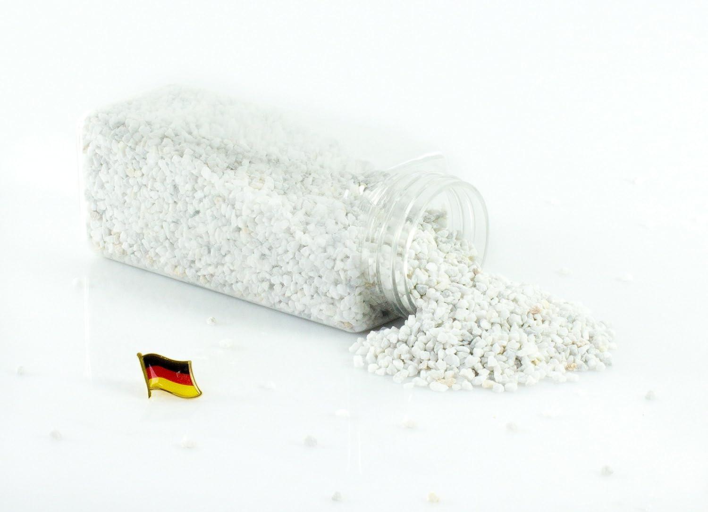 monsterkatz Set 3 x di Granulato decorativo/Pietre decorative ASLAN, bianco, 3-8mm, Confezione da 605ml, Prodotto in Germania - Ghiaia colorata/Granulato colorato