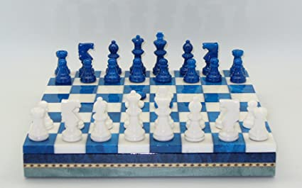 Amazon Com Alabaster Chess Checkers Set With Inlaid Wood Chest