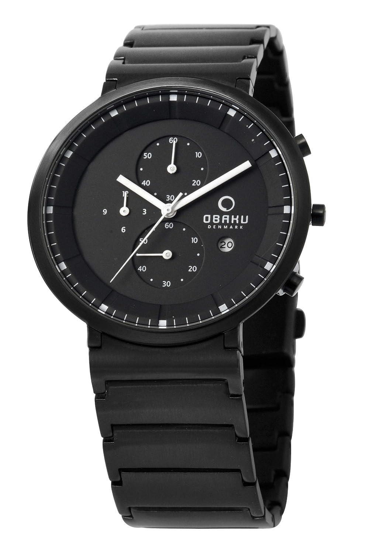 Obaku Harmony Herren-Armbanduhr XL Analog Quarz Edelstahl beschichtet 28-V147GBBSB1