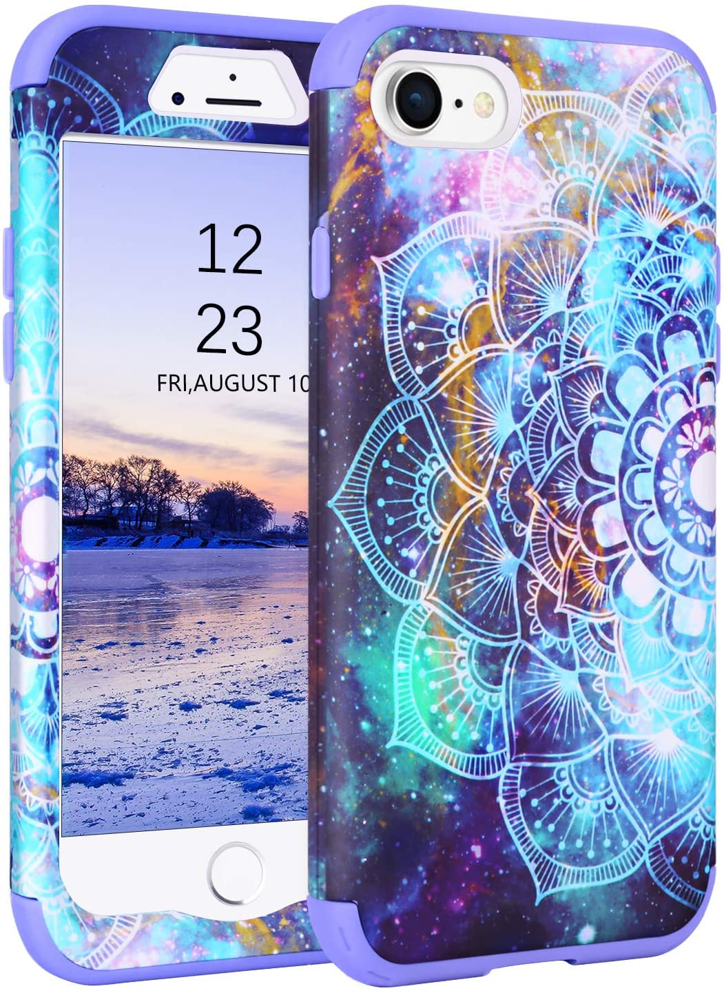 GUAGUA iPhone SE 2020 Case iPhone 8 Case iPhone 7 Case Mandala Flowers Stars Space Nebula Hybrid 3 in 1 Hard PC Soft TPU Cover Bumper Shockproof Protective Cases for iPhone 8/7/SE 2020 Purple