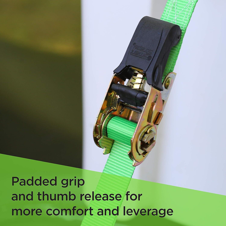 smartstraps 145/Verde 14/1.500/kg Capacidad Acolchado Ratchet Tie Down, Pack de 4