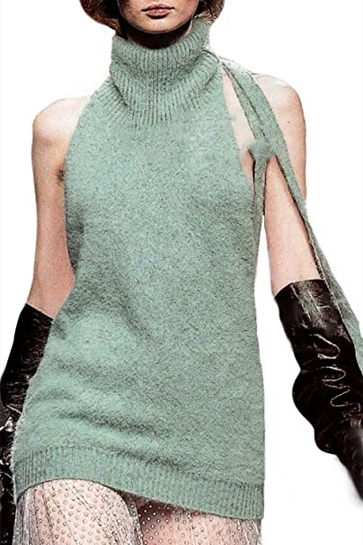 b9d0d0103d5a47 Olens women sleeveless backless turtleneck sweater anime cosplay knit tank  top vest clothing jpg 404x606 Backless