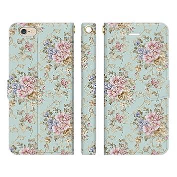 0ff0c5753670 Ruuu iPhone6 iPhone6s 手帳型 スマホ ケース カバー アンティーク フラワー A 花柄 ヴィンテージ 花 ローズ