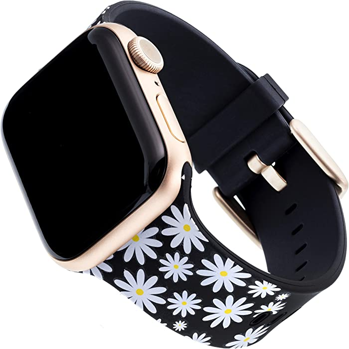 WITHit Dabney Lee Silicone Replacement Band for Apple Watch, 38/40mm, Daisy Darling – Secure, Adjustable Stainless-Steel Buckle Closure, Apple Watch Band Replacement, Fits Most Wrists