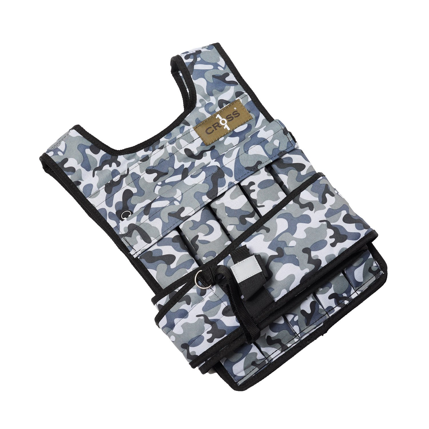 CROSS101 Camouflage Adjustable Weighted Vest 20lbs – 80lbs with Phone Pocket Water Bottle Holder