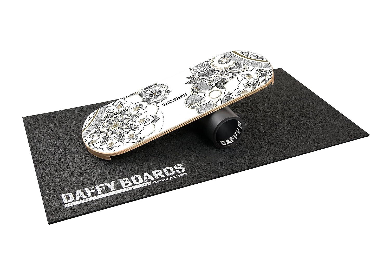 """DaffyBoards Balance Trainer Set """"Zensation Weiß   Balance Board 75cm x 29,5cm aus Birkenholz, stabile 125mm Kunststoffrolle, Bodenschutzmatte"""