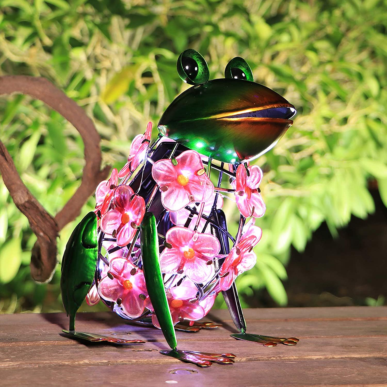 VCUTEKA Solar Lantern Outdoor - Frog Solar Lights Ornament Waterproof LED Solar Hydrangea Flower Light for Table Yard Garden Decorative Gift