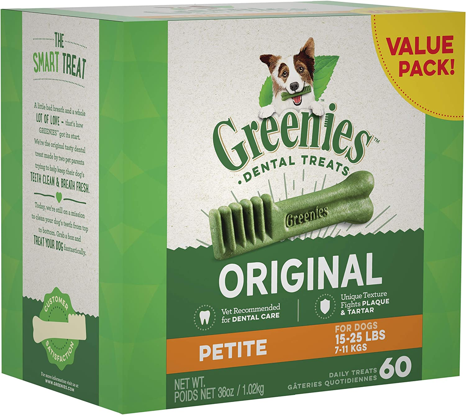 Greenies Dog Dental Chews Dog Treats – Petite Size 15-25 lb Dogs