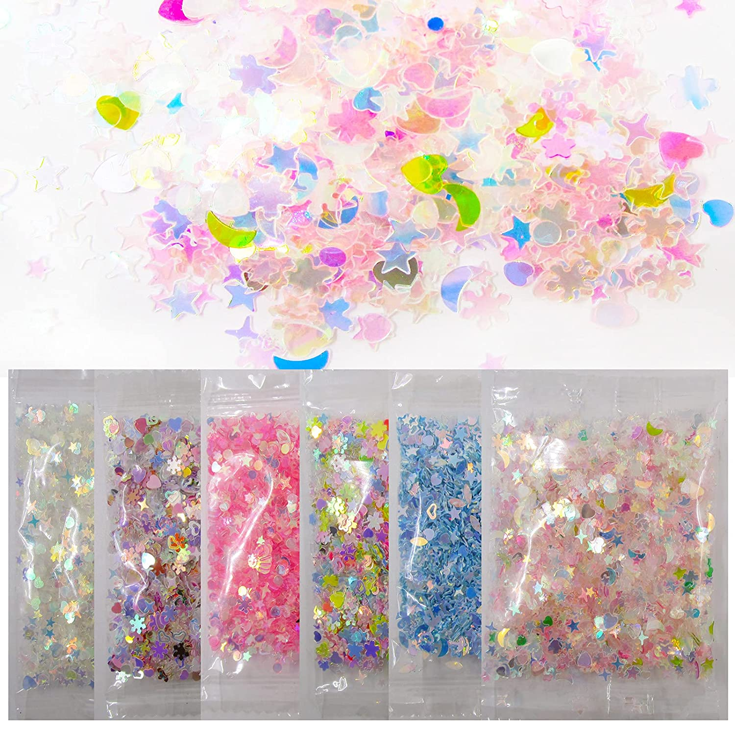 60g Resin Crafts Glitter Accessories Star Heart Moon Shell Glitter Shapes Confetti Sequins Slime Charms Nail Art Decor 6 Colors. (Star)
