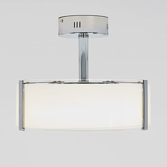 Artika Lu14es C1 Zane Led Semi Flush Mount Modern Close To Ceiling Light 22w With A Glass Shade Chrome Finish