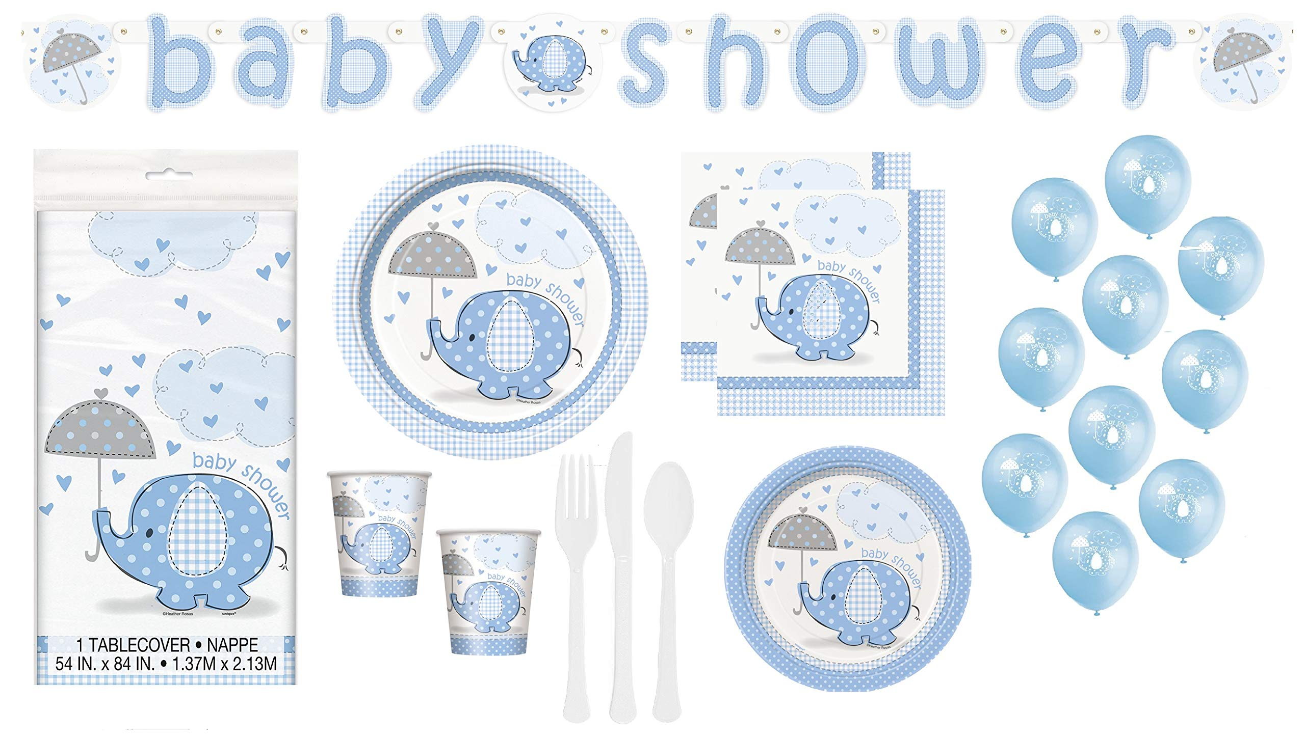 Baby Boy Shower Blue Elephant Theme Party Supplies Decorations Tableware Plates Napkins Cups Cutlery Table Cover Banner Balloons Serves 24 Guests