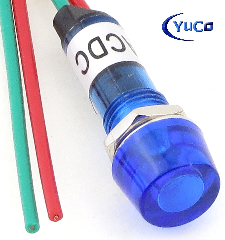 Blue, 12V Yuco YC-9WRT-1B-12-10 Mini Indicator Light 9mm Cylindrical Cap Wire-Base Ring Nut AC//DC Pack of 10