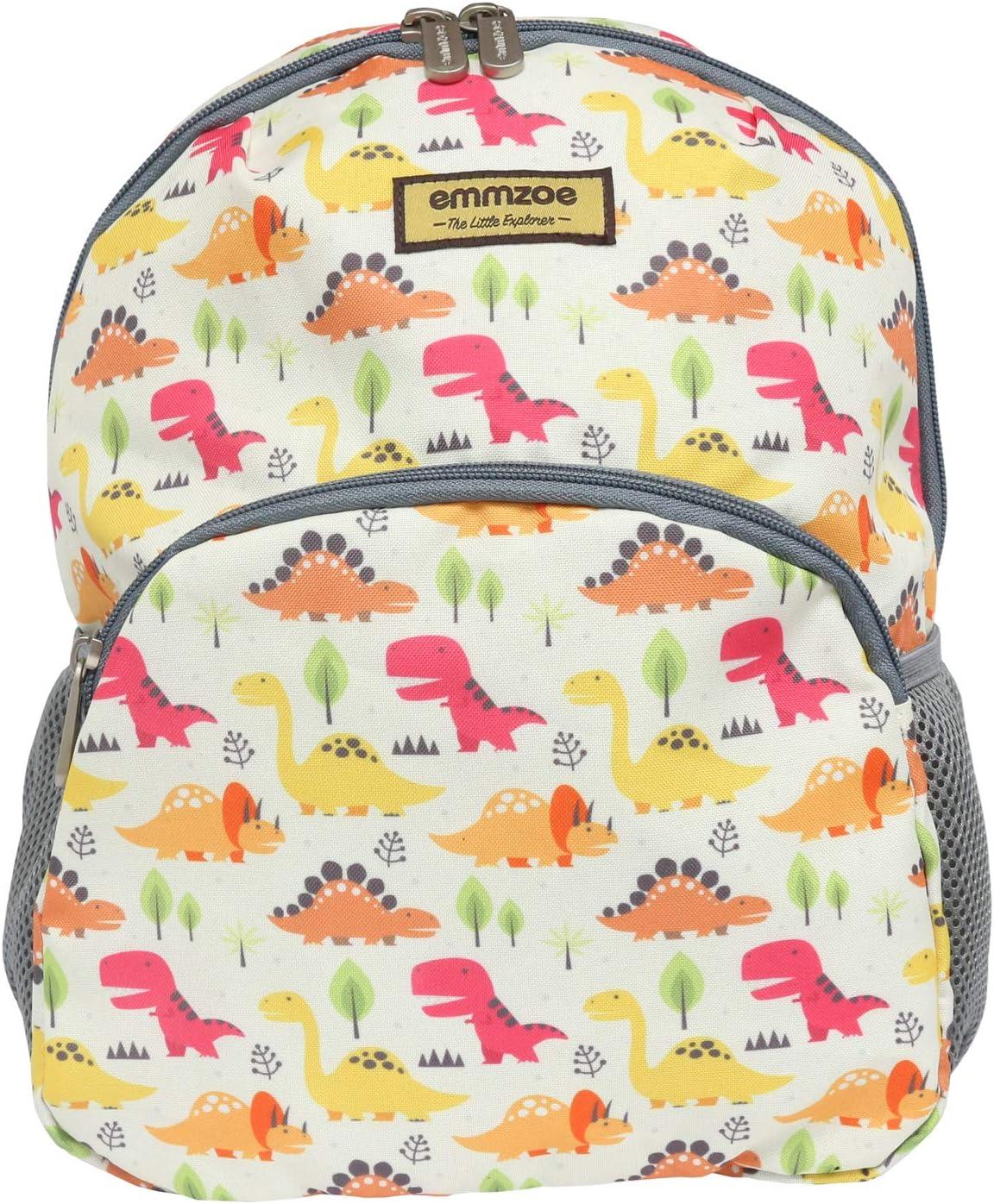 Emmzoe Little Explorer Mini Toddler & Kids Backpack - Lightweight Fits Lunch, Table, Food, Books (Dinosaurs)