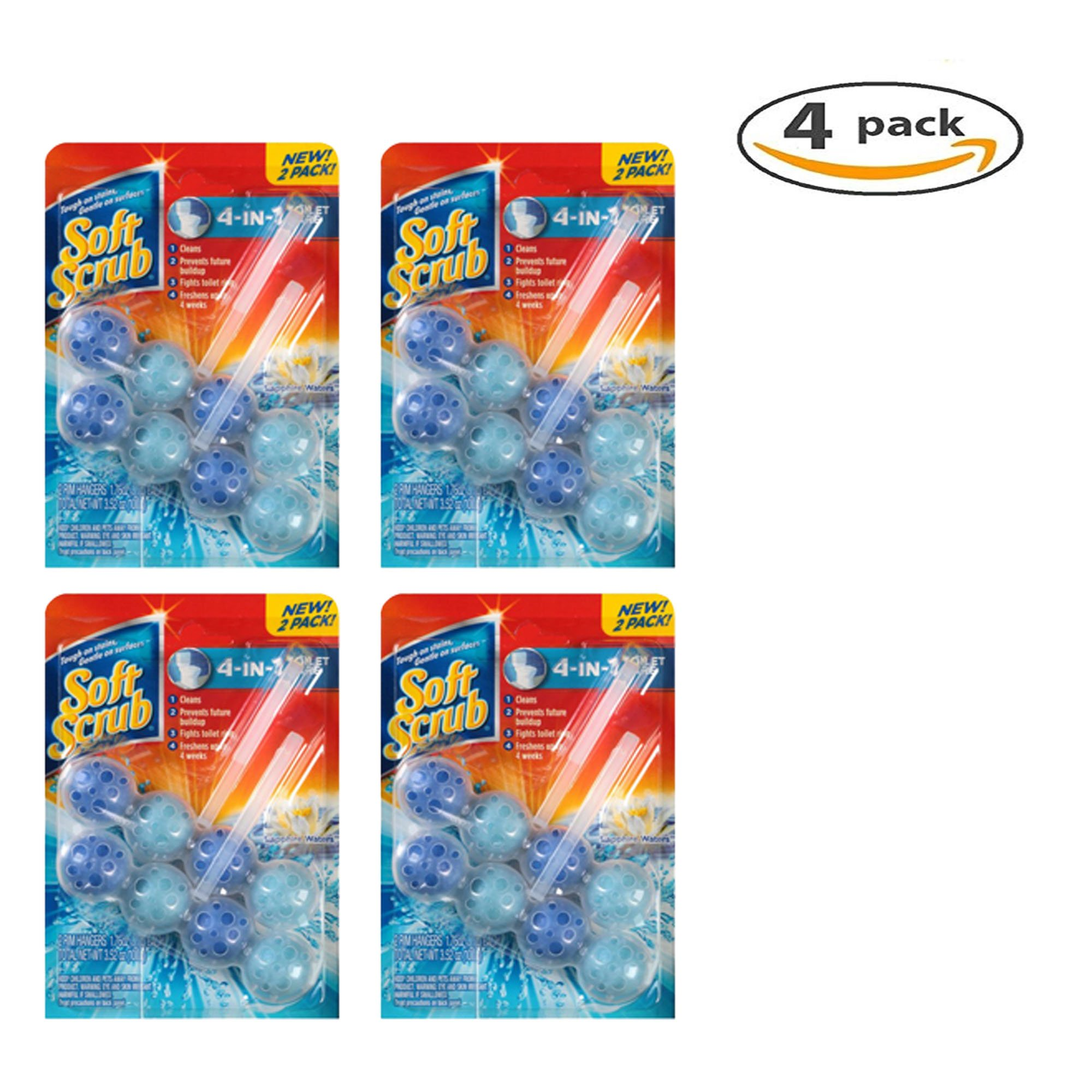 Soft Scrub 4-in-1 Toilet Care Sapphire Waters Rim Hangers (Pack of 4)