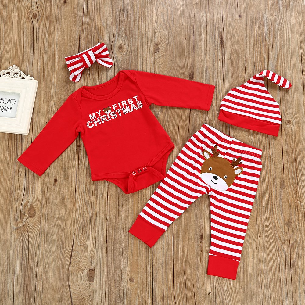 Christmas 4Pcs Outfit Set Baby Girls Boys My First Christmas Rompers(0-3 Months) by Von kilizo (Image #3)