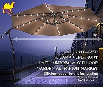 Amazon.com : STRONG CAMEL 9u0027 CANTILEVER SOLAR 40 LED LIGHT PATIO UMBRELLA  OUTDOOR GARDEN ALUMINIUM MARKET TAUPE : Garden U0026 Outdoor