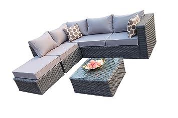 yakoe conservatory modular 5 seater rattan garden corner sofa