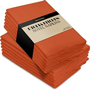 Utopia Kitchen Cloth Napkins, 12 Pack (18 x 18 Inches), Orange Cotton Dinner Napkin