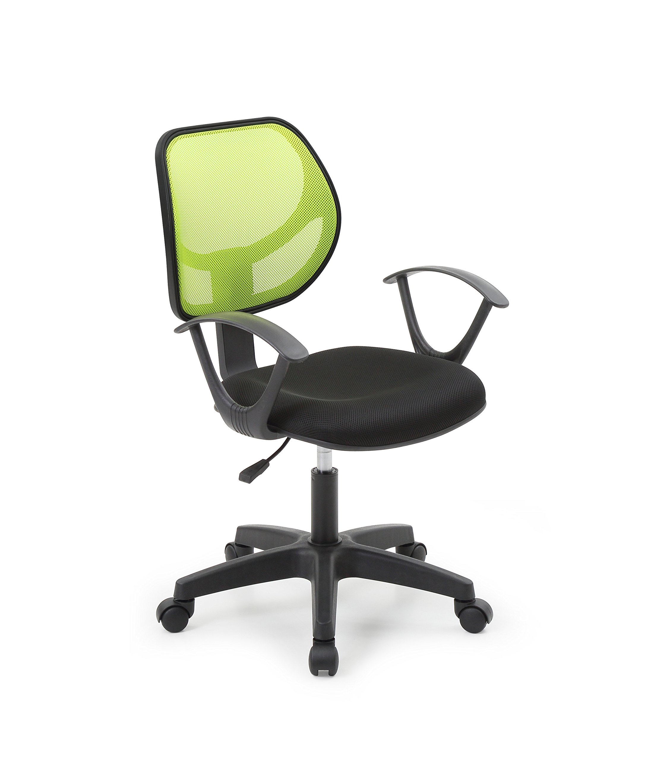 Hodedah Mesh, Mid-Back, Adjustable Height, Swiveling Task Chair with Padded Seat in Green