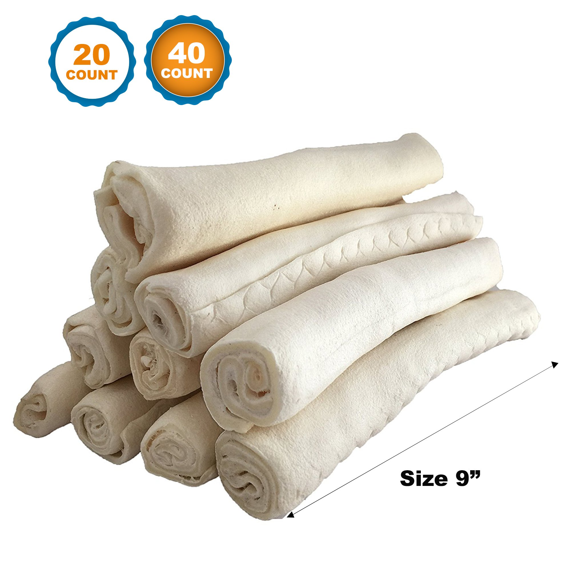 123 Treats | Rawhide Roll 9'' (40 Count) Heavy Weight | 100% Natural Retriever Rolls