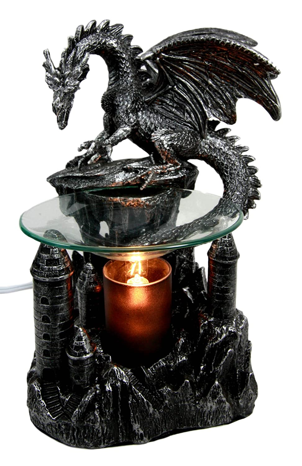 "Ebros Smaug Castle Guardian Dragon Electric Oil Burner Tart Warmer Aroma Scent Statue 9.5"" Tall Figurine Dungeons and Dragons Decorative Decor for Aromatherapy Accessory Halloween Prop"